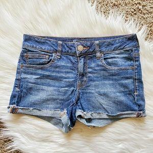 AEO Super Stretch Shortie Blue Denim Shorts
